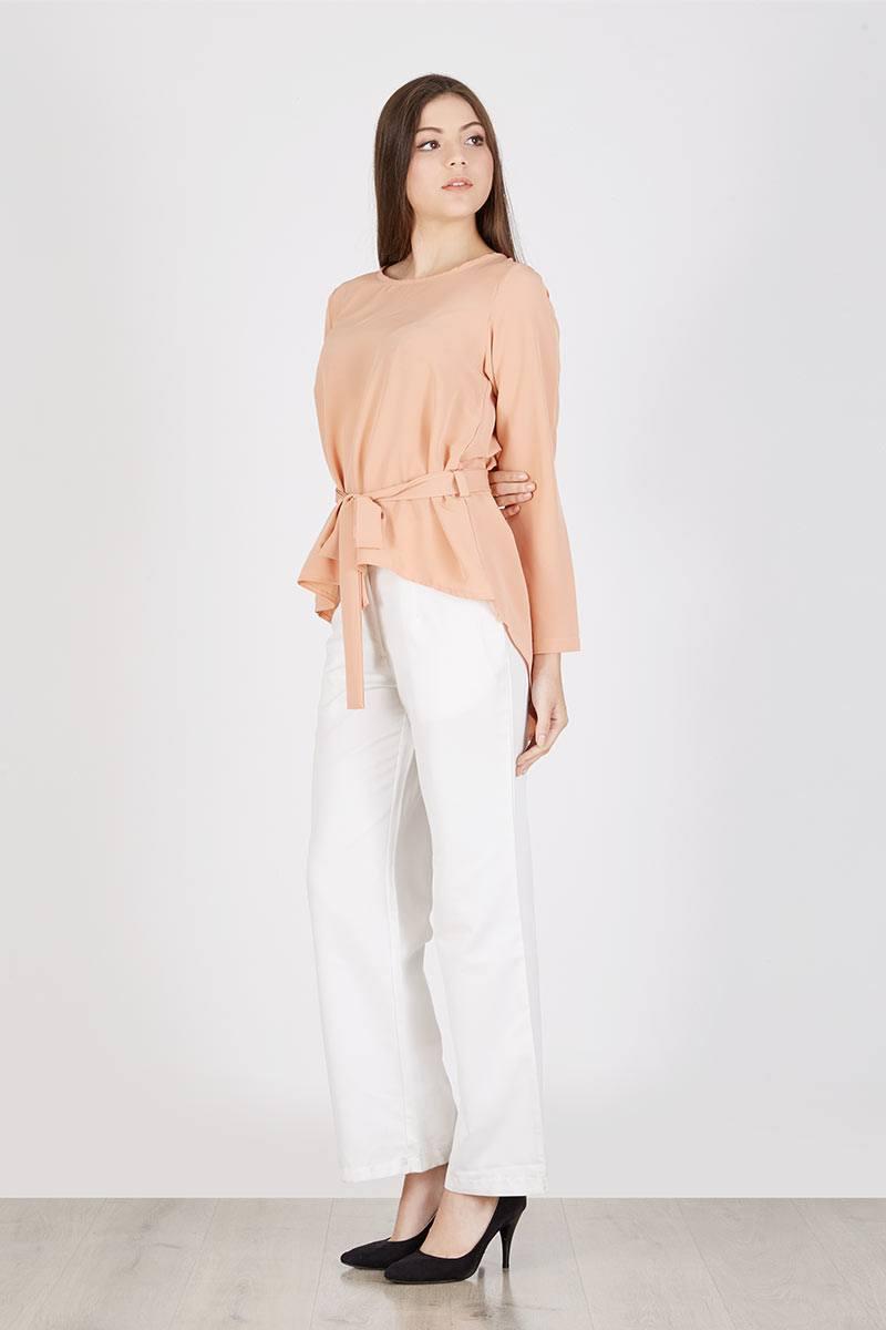 231076 raziela top peach peach puff OWDNM - Bosan Baju Lebaran Warna Putih? Coba 11 Blouse Berwarna Pastel di Bawah 250 Ribu Ini!
