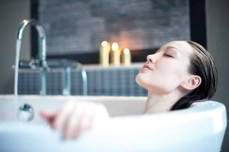 Image result for bath with hot water